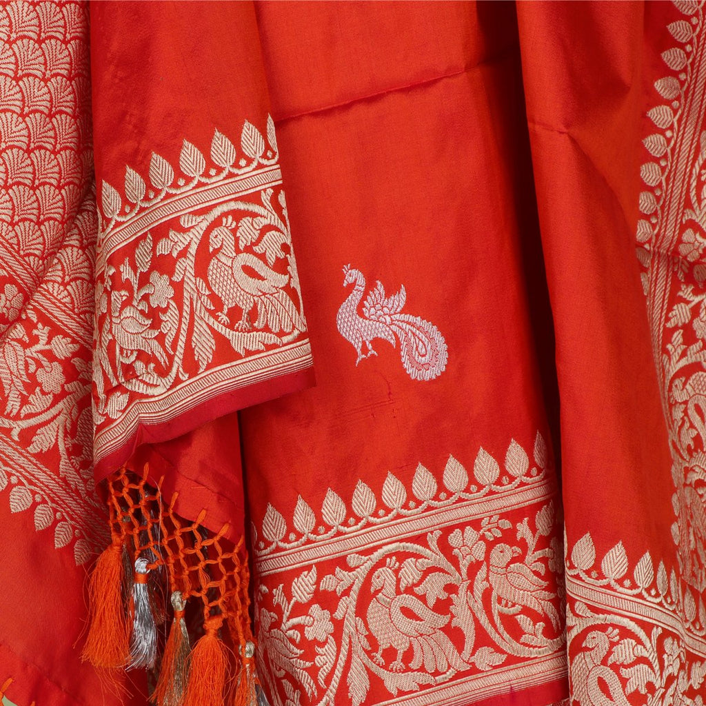 Handwoven Red Banarasi Katan Silk In Pure Gold Zari Dupatta - WIIBT0071 - Full View