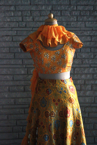 Handcrafted Mustard Yellow Lehenga With Hand Embroidered Blouse And Georgette dupatta