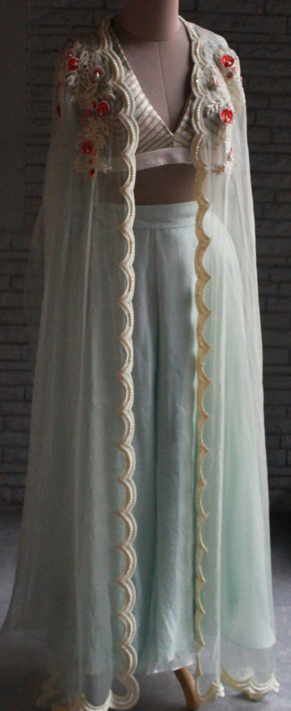 Mint Green Organza Sharara With Metal Embroidered Blouse And Embroidered Cape Set