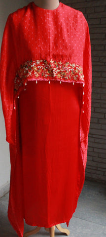 Embroidered Red Cape Gown