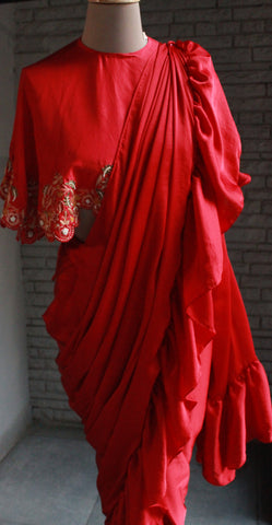 Red Ruffle Sari Set