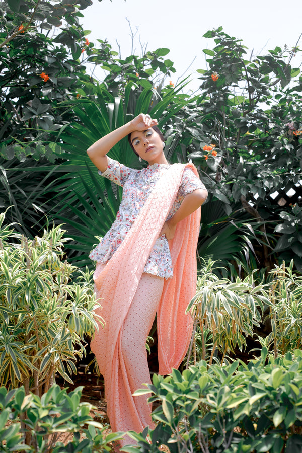 Embroidered Peplum Chanderi Blouse With Peach Habutai Bandhini Sari