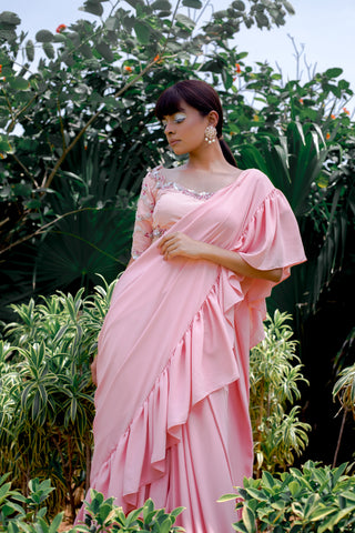 Blush Pink Tiered Georgette Sari Set