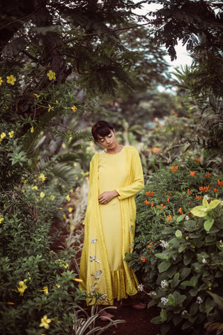 Mustard Yellow Bandhani Jacket Dress - WIAWA18005 - View 2