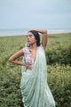 Mint Green Pant Sari With Chanderi Embroidered Bustier - WIAWA18007