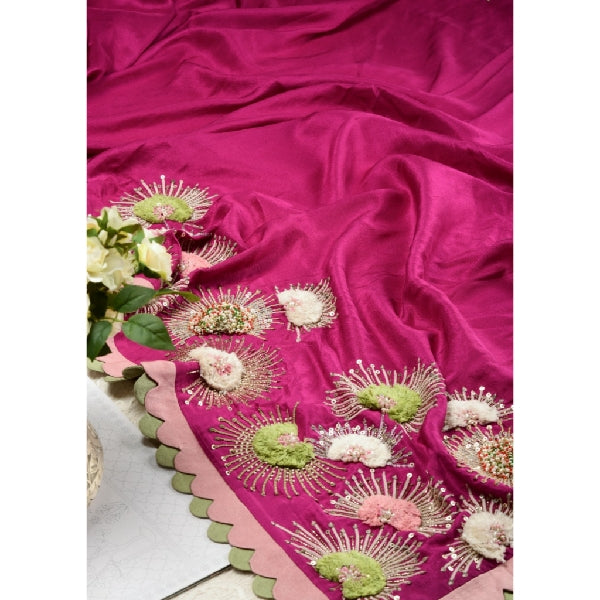 Wine Chinese Silk Hand Embroidered Saree