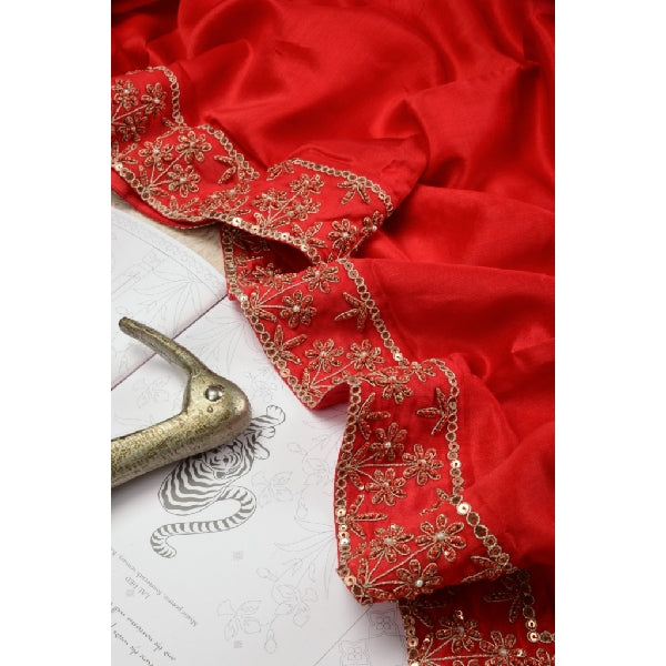 Vermilion Red Hand Embroidered Saree