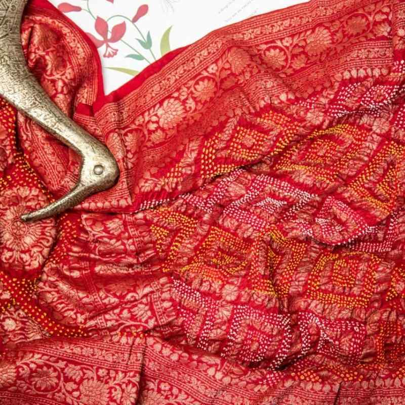 Scarlet Red Bandhani Saree