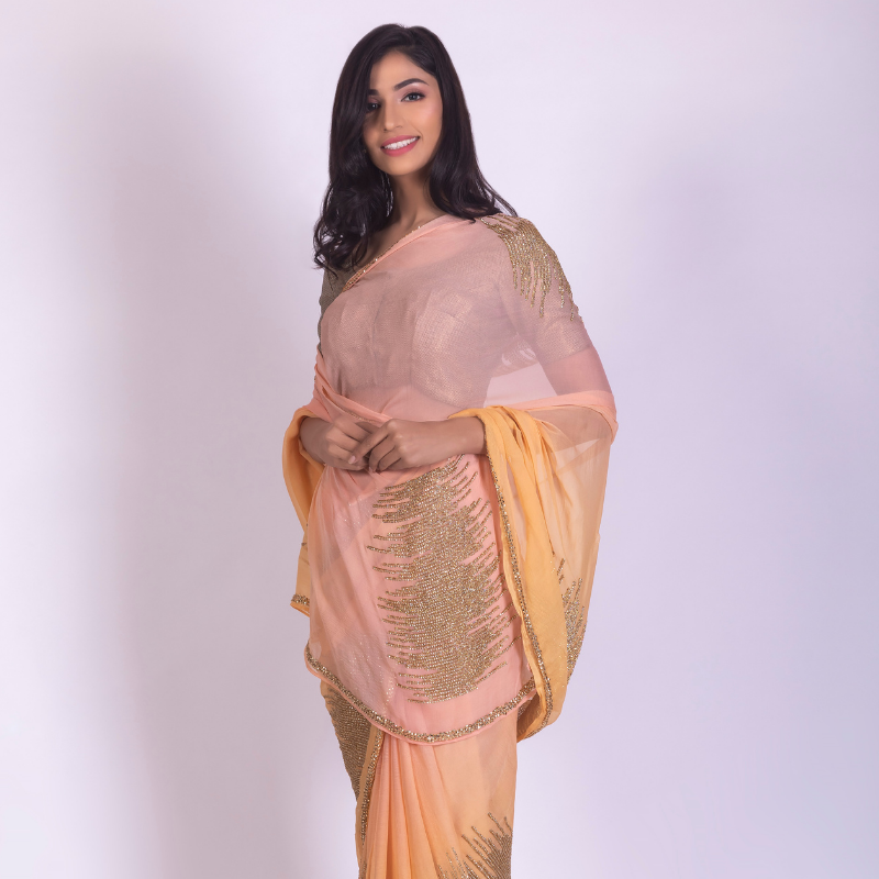 Roop Marwar Yellow/Peach Ombré Ambika Saree