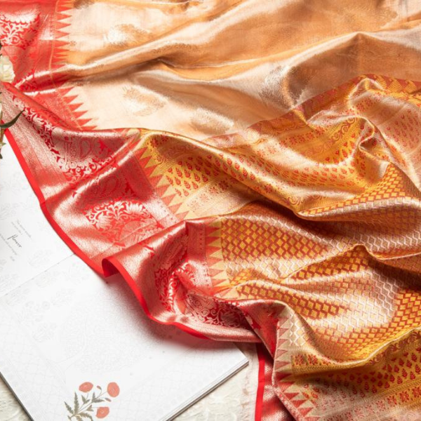 Peach Tissue Pure Kanjivaram Silk Saree