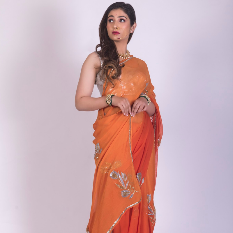 Roop Marwar Orange Ombré Ganga Saree