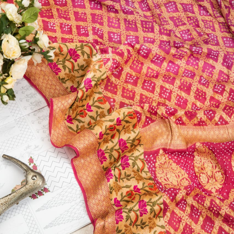 Onion Pink Bandhani Saree