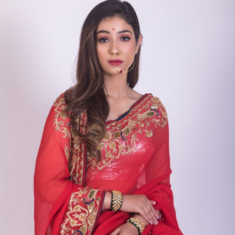 Roop Marwar Red Radhika Saree