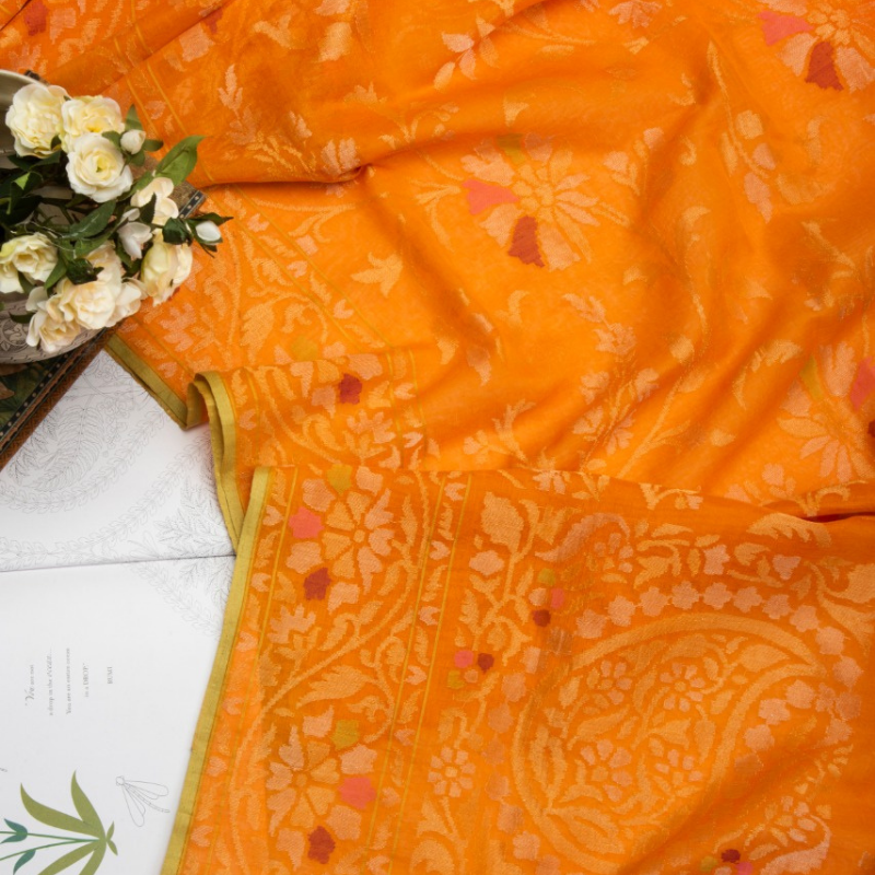 Sunset Orange Silk Cotton Jamdani Saree