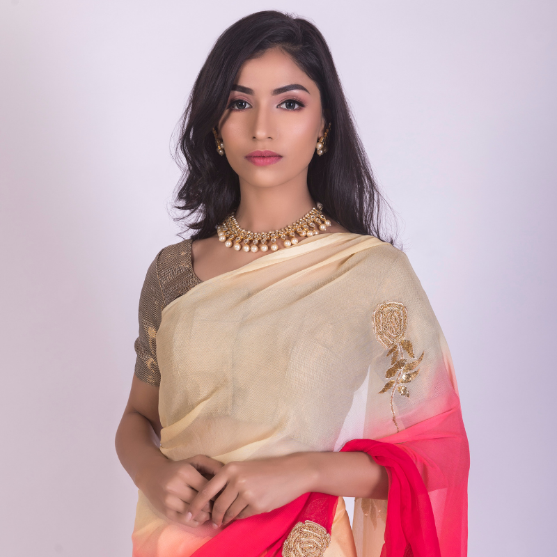 Roop Marwar Red/Cream Ombré Naina Saree