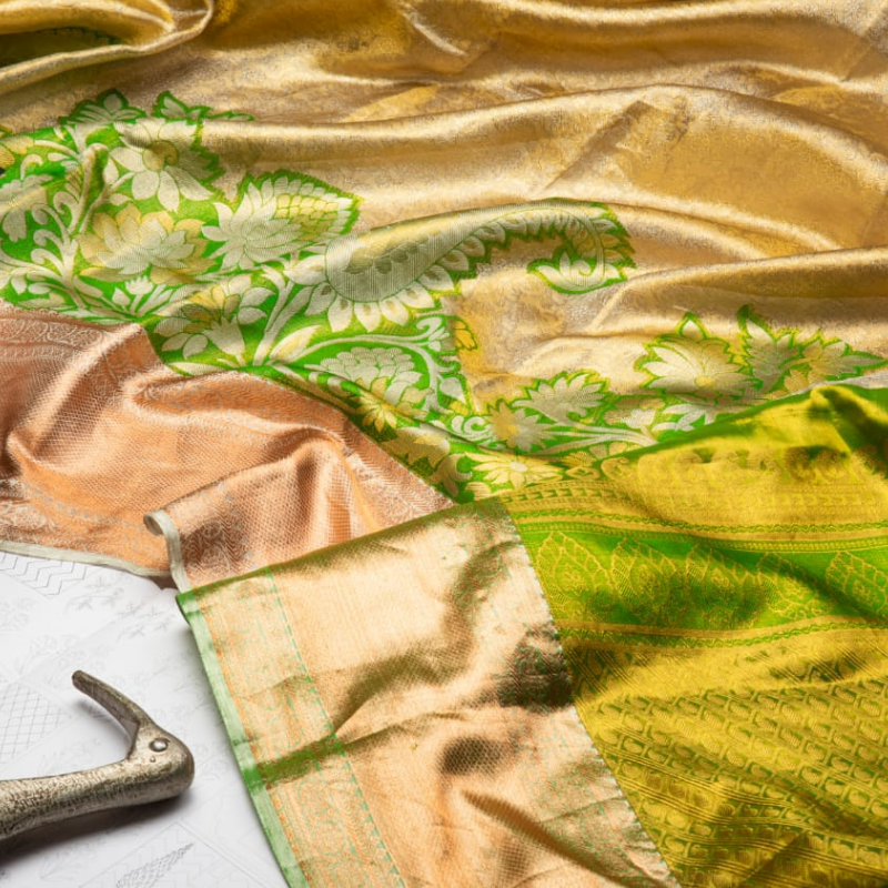 Leaf Green & Gold Pure Kanjivaram Silk Saree