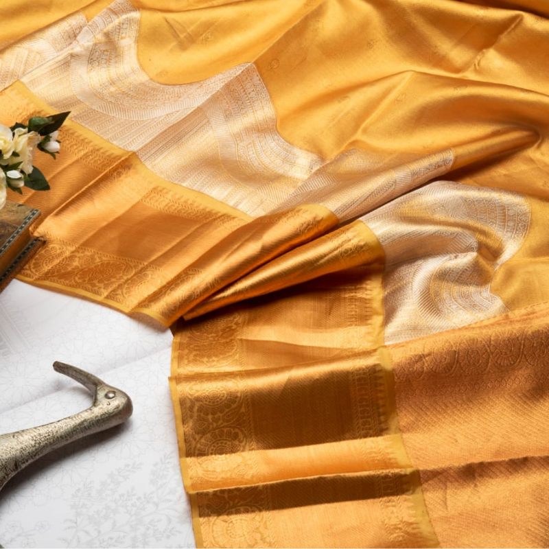 Gold Pure Kanjivaram Silk Saree