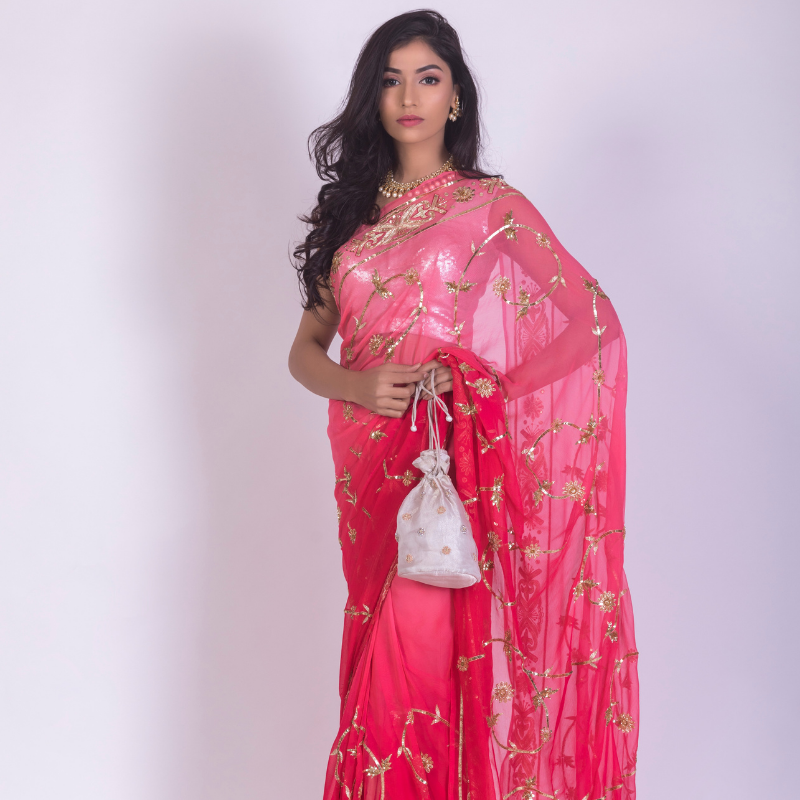 Roop Marwar Dark Pink Shaded Rohini Saree