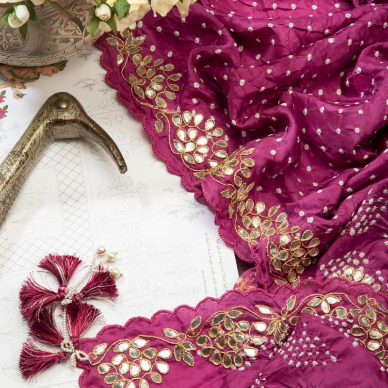 Hand-Embroidered Mauve Bandhani Saree