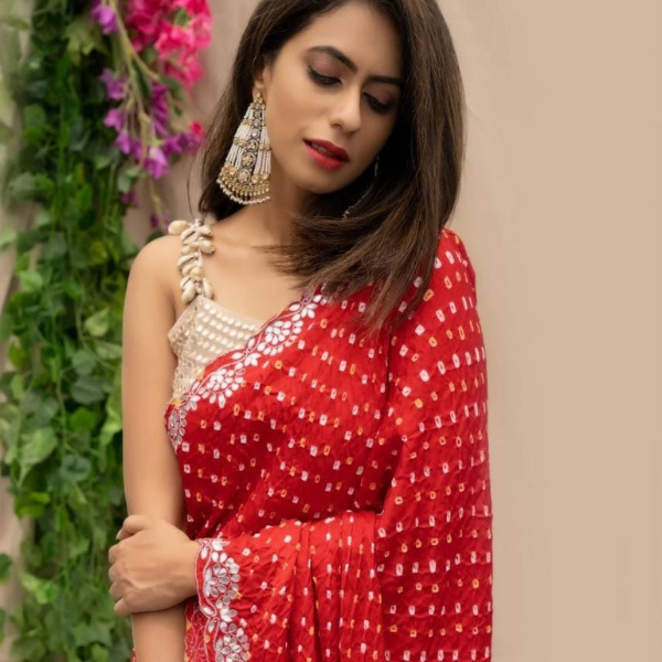 Hand-Embroidered Red Bandhani Saree