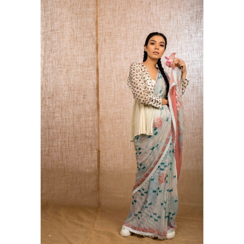 Powder Blue Tropical Pichwai Sari -WIIAKALICO SS02 - View 2