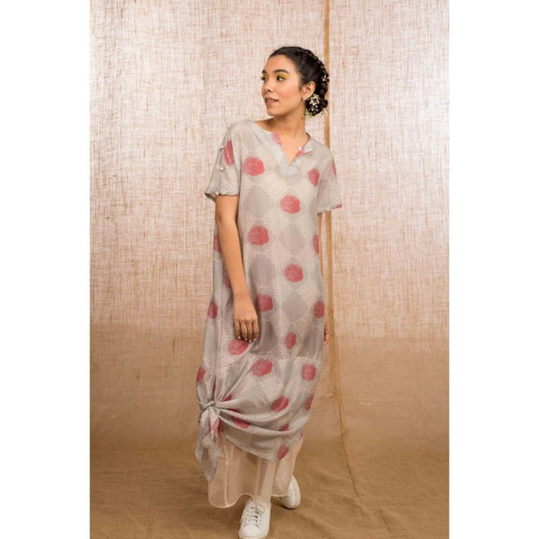 Silver Grey Rose Kolam Knot Dress - WIIAKALICO 008A - View 1