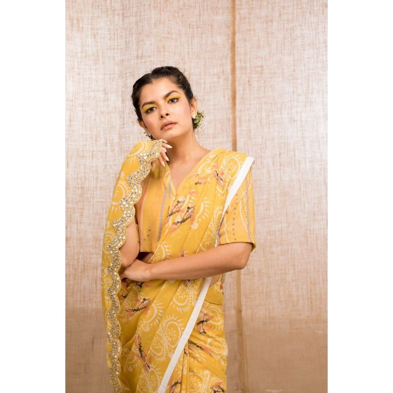 Koi katha Digital printed Saree