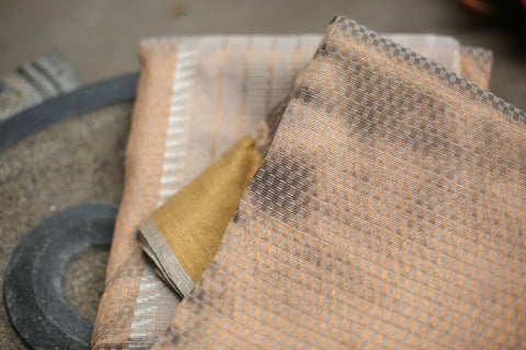 Handwoven Sepia Kota Silk Sari With Real Silver Zari
