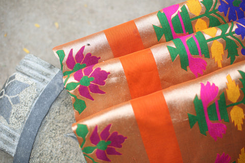 Handwoven Paithani Orange Unstitched Fabric Material With Pure Zari