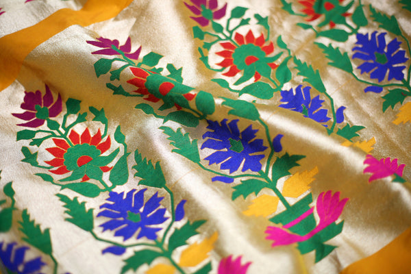 Handwoven Paithani Yellow Unstitched Fabric Material With Pure Zari - WIIAM0140(D)