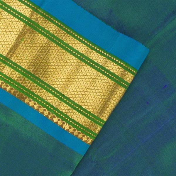 Handwoven Paithani Silk Sari with Peacock Pattern-WIISHNIKARIDNAM0196 - Blouse View