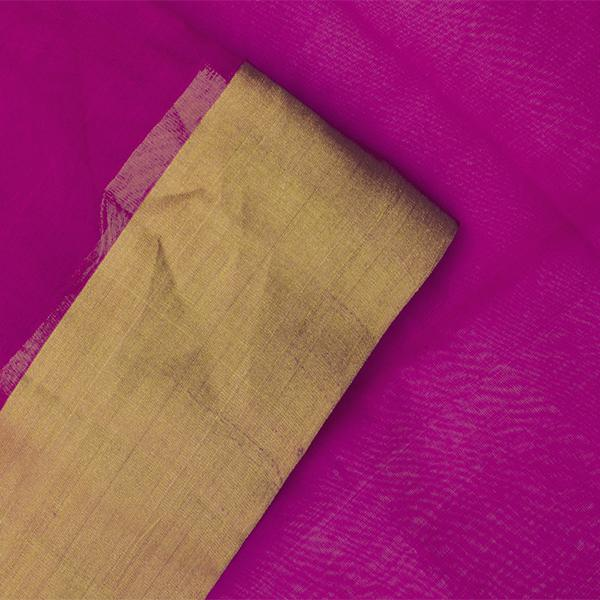 Handwoven Fuchsia Chanderi Silk Sari with Coin Buttas - WIIHSBHARIDNAM011 - Blouse View