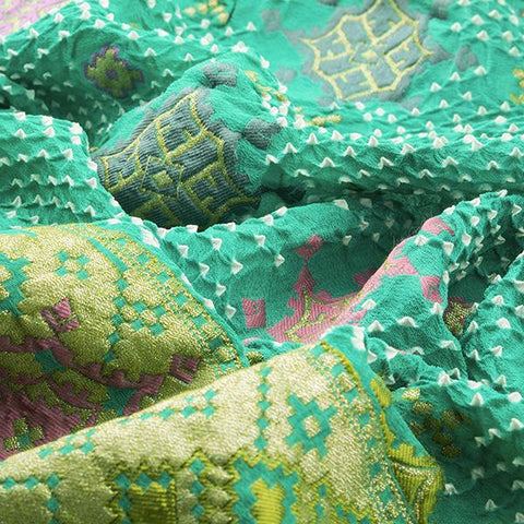 HANDWOVEN BANDHANI SEA GREEN PATOLA DUPATTA-WIIAJB332152- Fabric View