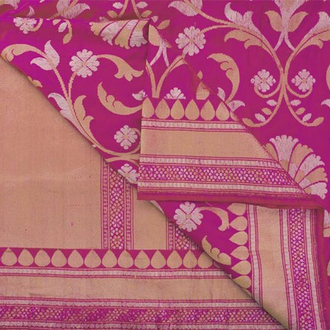 Handwoven Banarasi Silk Sari with Floral Pattern-WIISHNIKARIDNAM0150 - body View