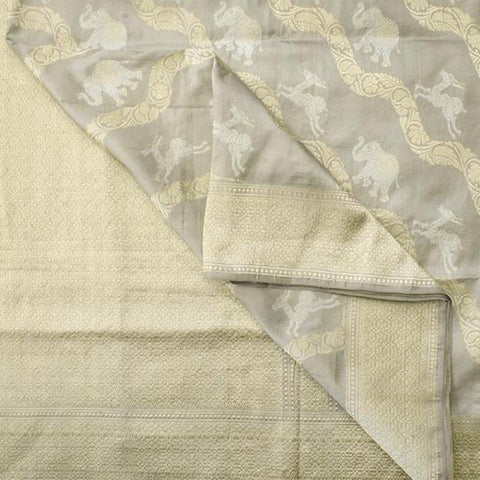 Handwoven Banarasi Silk Sari with Elephant & Deer Butta Pattern-WIIBT116- Body View