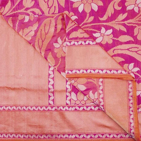 Handwoven Banarasi Silk jamdani Sari with Floral Pattern-WIISHNIKARIDNAM0154 - Body View