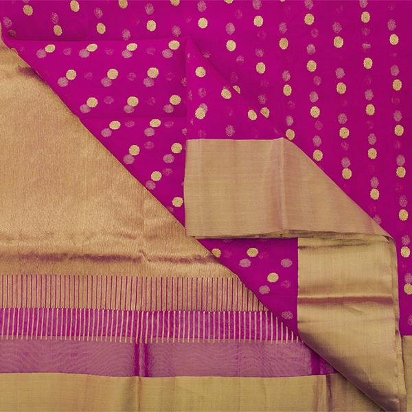 Handwoven Fuchsia Chanderi Silk Sari with Coin Buttas - WIIHSBHARIDNAM011 - Body View