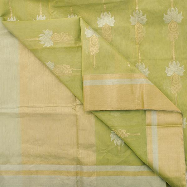 Handwoven Lime Green Royal Chanderi Silk Sari - WIIHSBHARIDNAM016 - Body VIew