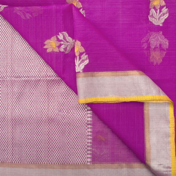 Handwoven Thulian Pink Kota Sari with Floral Buttas - WIINRM025 - Body View