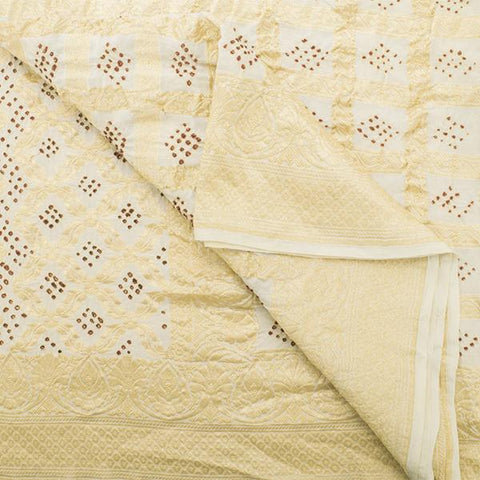 Handwoven Ivory Georgette Bandhani Sari - WIIAJB326 142 - Body View