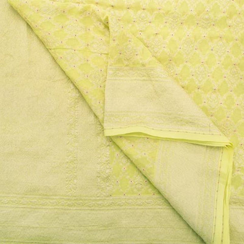 Handwoven Banarasi Lemon Yellow Khadi Georgette Silk Sari - WIISHNIKARIDNAM0176 - Body View