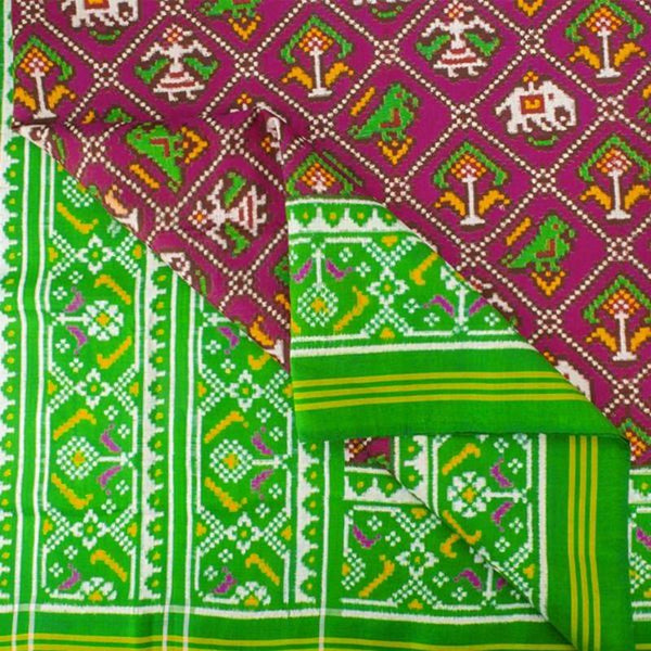 HANDWOVEN GREEN AND PINK 4 FIGURE DOUBLE IKAT PATAN PATOLA SILK SARI-WIITNKP025- Fabric View