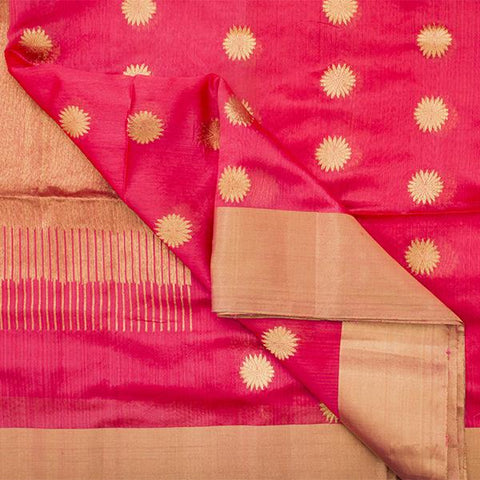 HANDWOVEN CORAL ROYAL CHANDERI SARI-WIIHSBHARIDNAM008- Fabric View