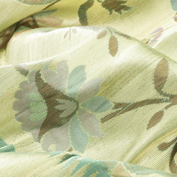 Handwoven Paithani Silk Sari with Floral Pattern-WIISHNIKARIDNAM0153 - Fabric View