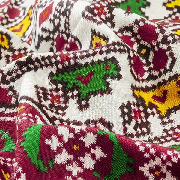 Handwoven Patan Patola Double Ikat Sari with Parrot Motif-WIITNKP020 - Fabric View