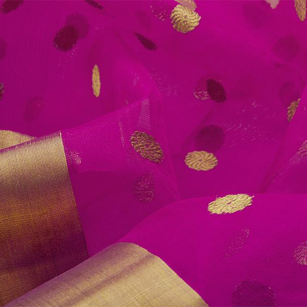 Handwoven Fuchsia Chanderi Silk Sari with Coin Buttas - WIIHSBHARIDNAM011 - Fabric View