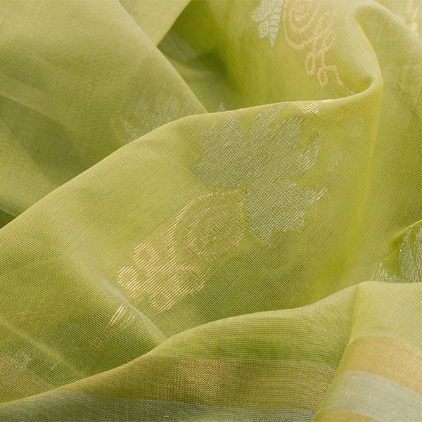 Handwoven Lime Green Royal Chanderi Silk Sari - WIIHSBHARIDNAM016 - Fabric View