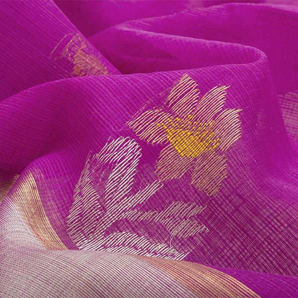 Handwoven Thulian Pink Kota Sari with Floral Buttas - WIINRM025 -Fabric View