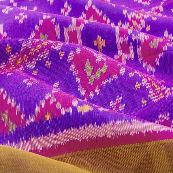 HANDWOVEN PURPLE AND PINK SINGLE IKAT RAJKOT PATOLA SARI-WIISHNIKARIDNAM0176- Design View