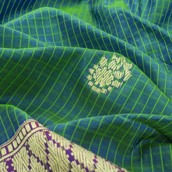 HANDWOVEN BLUE- GREEN DUAL SHADE BANARASI SILK SARI-WIIBT110-Motif View